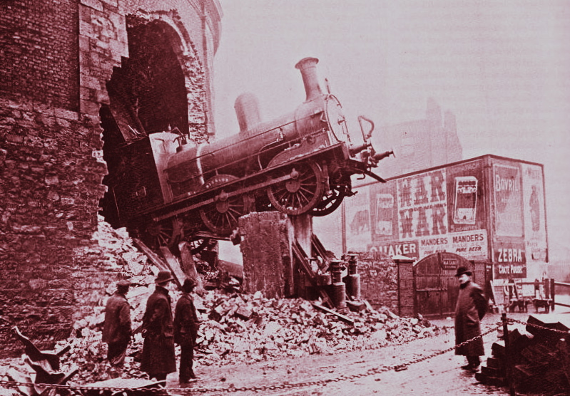 Train Crash, 1900, Harcourt St., Dublin, Ireland