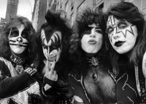 Rock group Kiss has a day on the town in New York City. Peter Criss, Gene Simmons, Paul Stanley, Ace Frehley. (Photo By: Richard Corkery/NY Daily News via Getty Images)