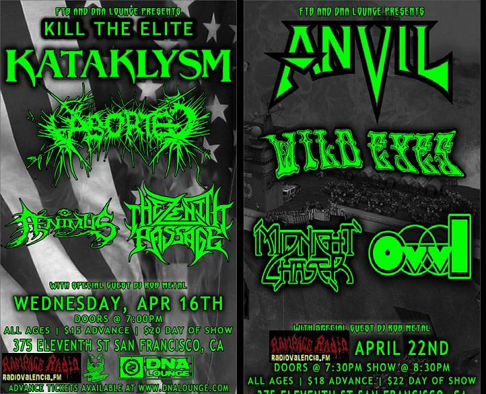 Kataklysm - Anvil 2 shows at the DNA